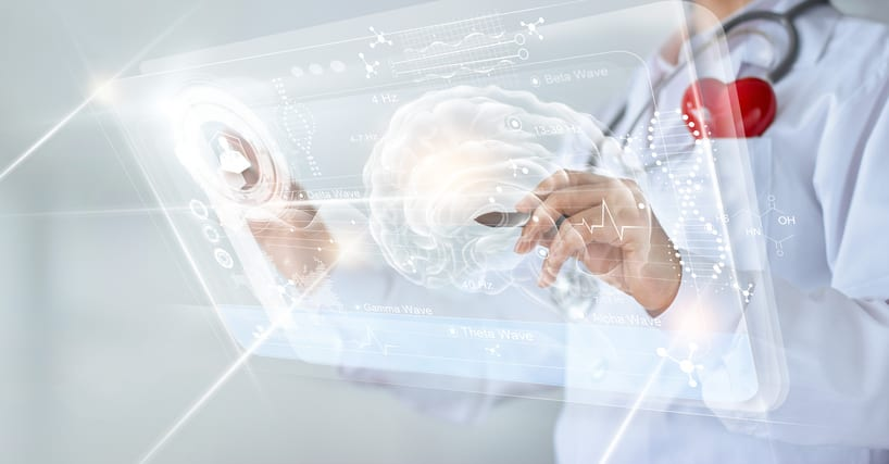 USMS | US Medical Systems | Doctor checking brain testing result with computer interface, innovative technology in science and medicine concept