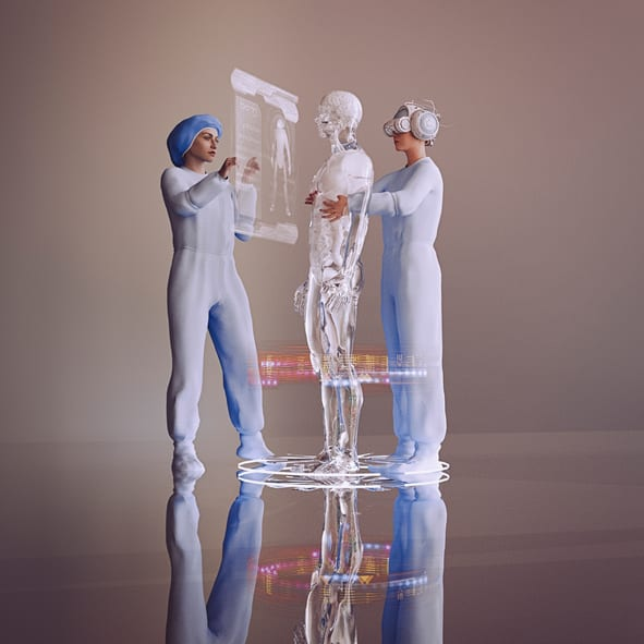 USMS | US Medical Systems | Nurse wearing virtual reality helmet repairing cyborg